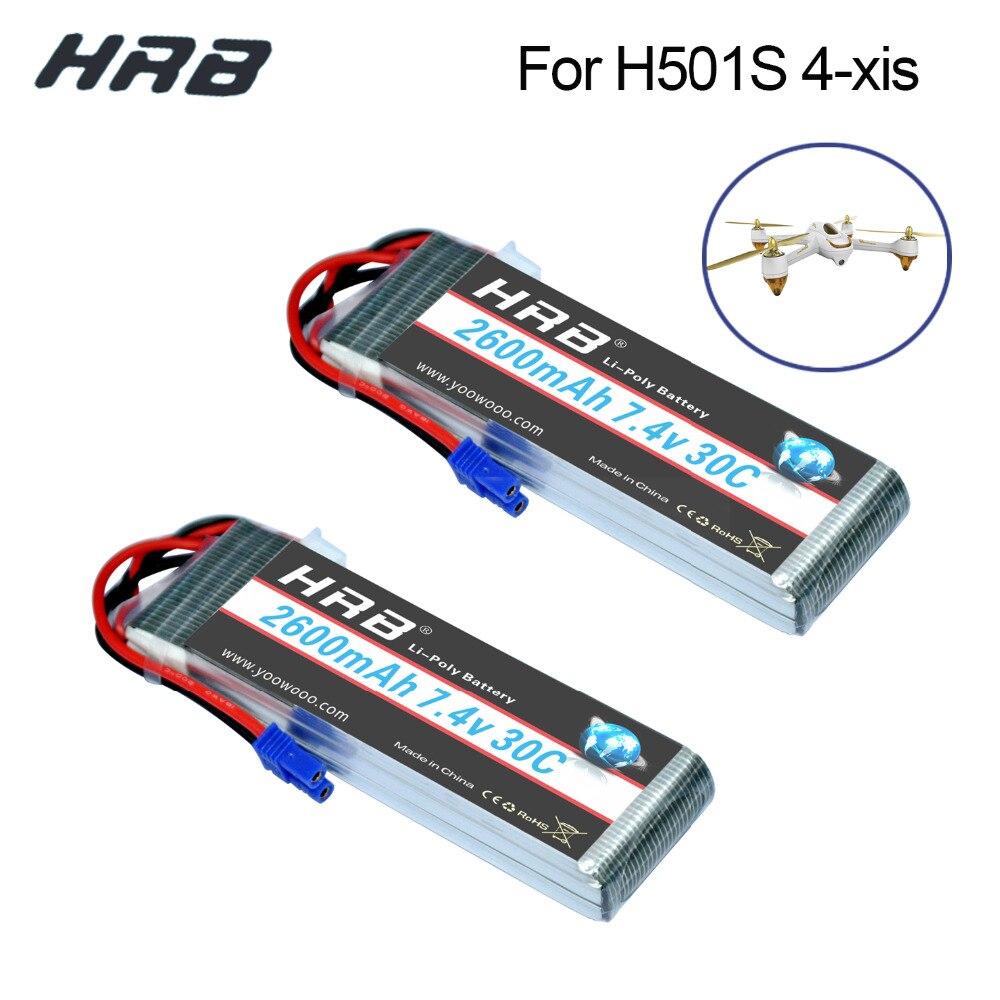 2 шт. HRB Lipo 2 S 7,4 В Hubsan H501S 4-xis Батарея 2600 мАч 30C Max 60C EC2 plug batteria для квадрокоптера вертолет, самолет