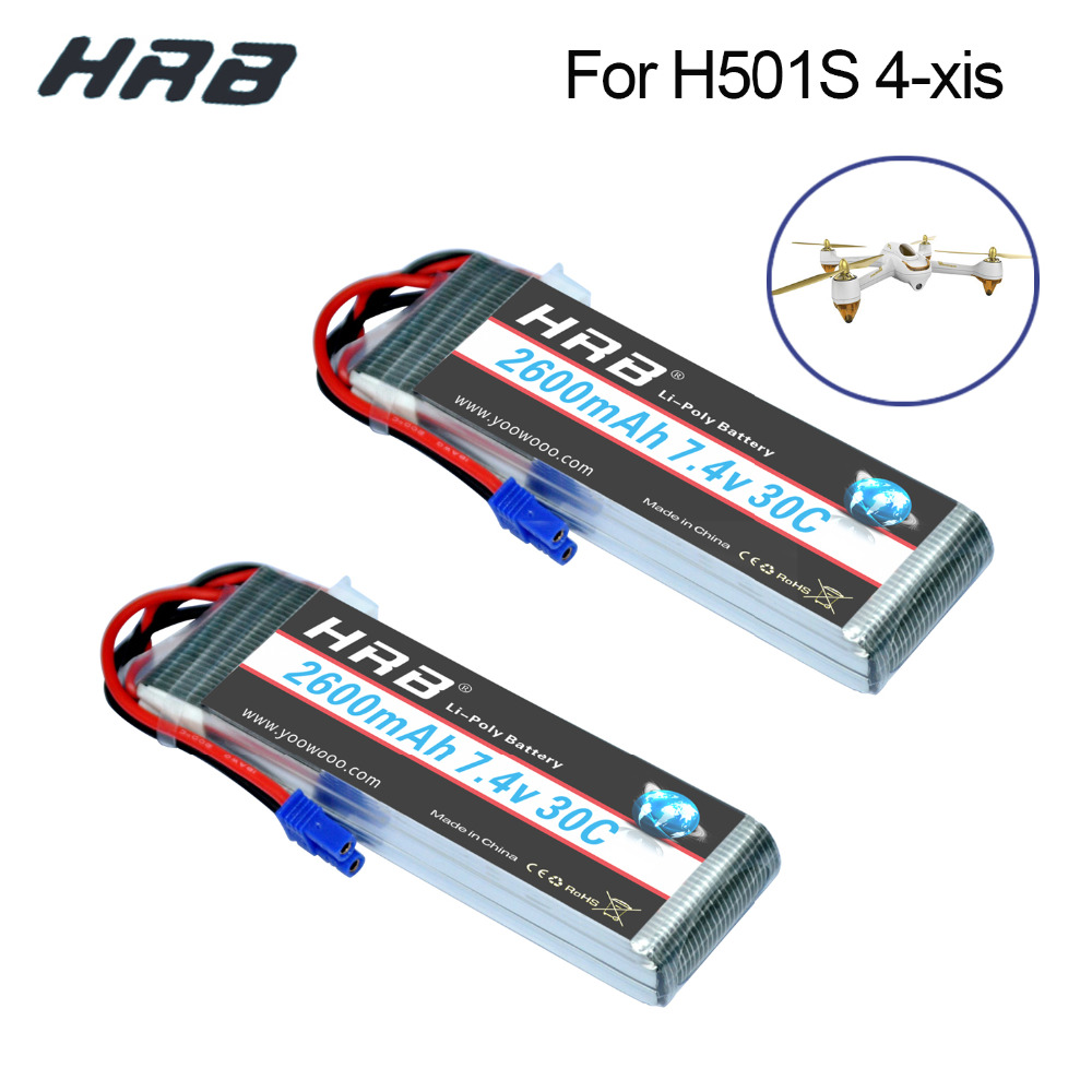2PCS HRB Lipo 2s 7.4V Hubsan H501S 4 xis Battery 2600mah 30C Max 60C EC2 plug batteria For Drone Quadcopter Helicopter Airplane