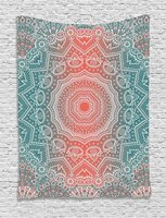 Coral And Teal Tapestry Modern Tribal Mandala Tibetan Healing Motif With Floral Geometric Ombre Art For