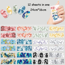 цена 12 Sheet/Lot Nail Water Decal Marble Grain Stone Nail Art Water Transfer Decal Sticker For Nail Art Tattoo Nail Foil Sticker Art