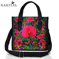 Fashion 5 colors Ethnic Canvas Embroidered Handbags Vintage Women Shoulderbags Big Shopping Bag Travel Bags
