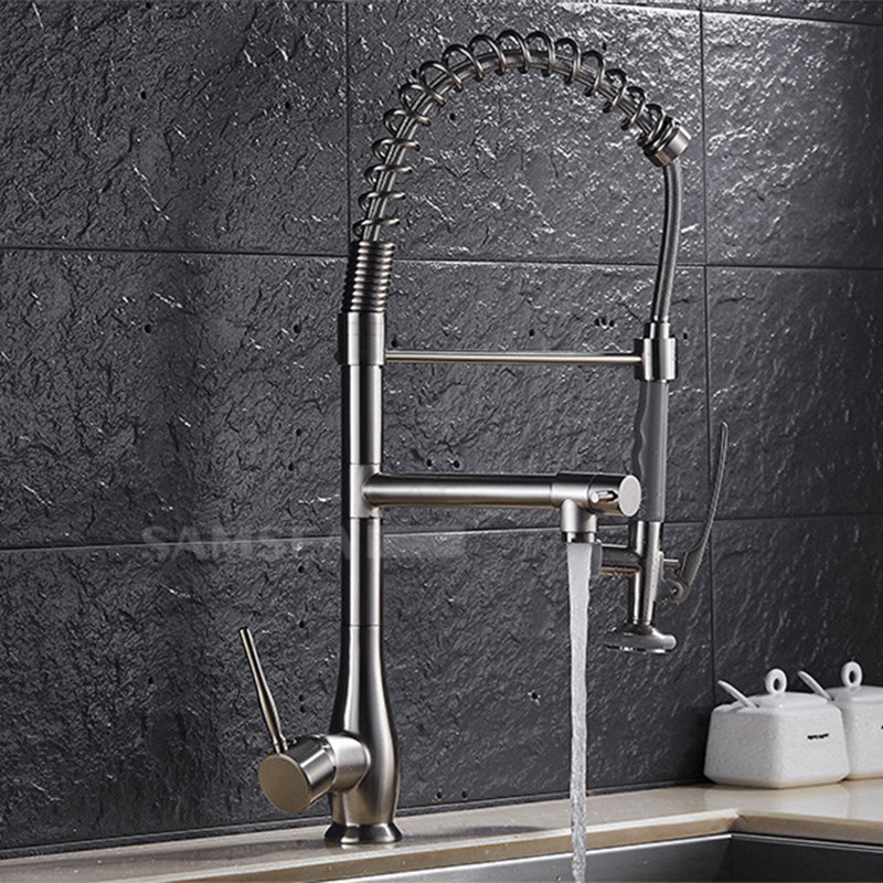 Brushed Nickel Water Tap Pull Out  Kitchen Faucet Mixer 2-Function Water Outlet All Around Rotate Swivel цена и фото