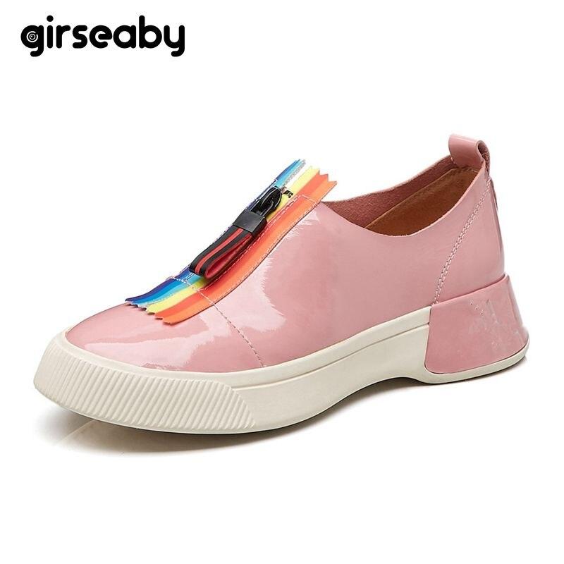 Girseaby femmes appartements en cuir de vache bout rond sans lacet été printemps mocassins décontractés vulcaniser chaussures Beige rose sapatos feminin E182
