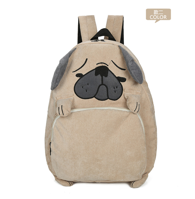 4a562501bf Lovely cute Korea Japan fashion pug backpacks fox backpacks durable canvas  material kawaii lovely backpack kid backpacks ab222