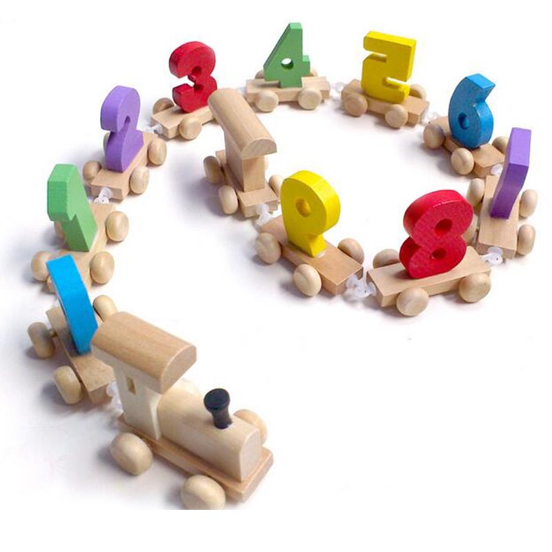 Kid Wooden Toy Number Train Colorful Wood Cartoon Design ...