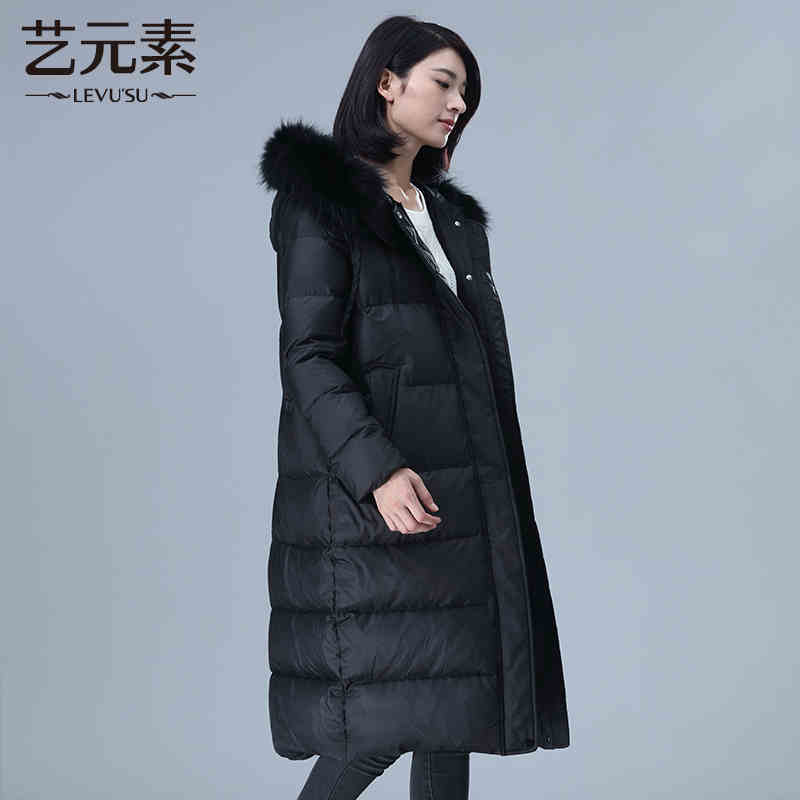 2015 New Hot Winter Cold Warm Woman Down jacket Coat Parkas Outerwear Hooded Raccoon Fur collar Luxury Long Plus Size XL Loose