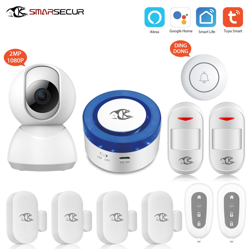 Wireless alarm siren motion sensor security system Android IOS app control compatible with alexa google home