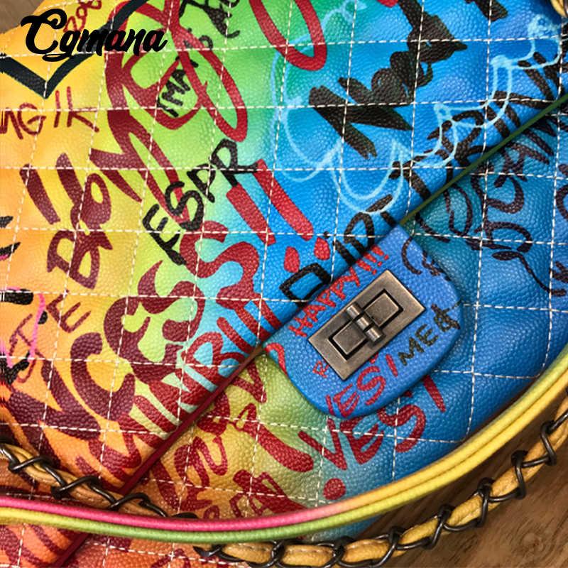Cgmana Tas Wanita 2018 Baru Warna Graffiti Gambar Bahu Tas Besar Fashion Besar Perjalanan Tas Wanita Merek Mewah Rantai Tas
