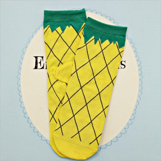 Winter Women's Cotton Cartoon Socks Fruit Sweet Woman Gril Unsex Socks Ankle Socks Christmas PPAP Geometry Socks Pineapple w13