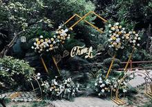 New wedding props, iron pentagonal shelves, geometric special-shaped arches, decorative flowers on the background of