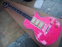 New  LP Electric Guitar Ace Frehley Model Budokan 3 pickups kiss guitar five star inlay in pink burst  110121
