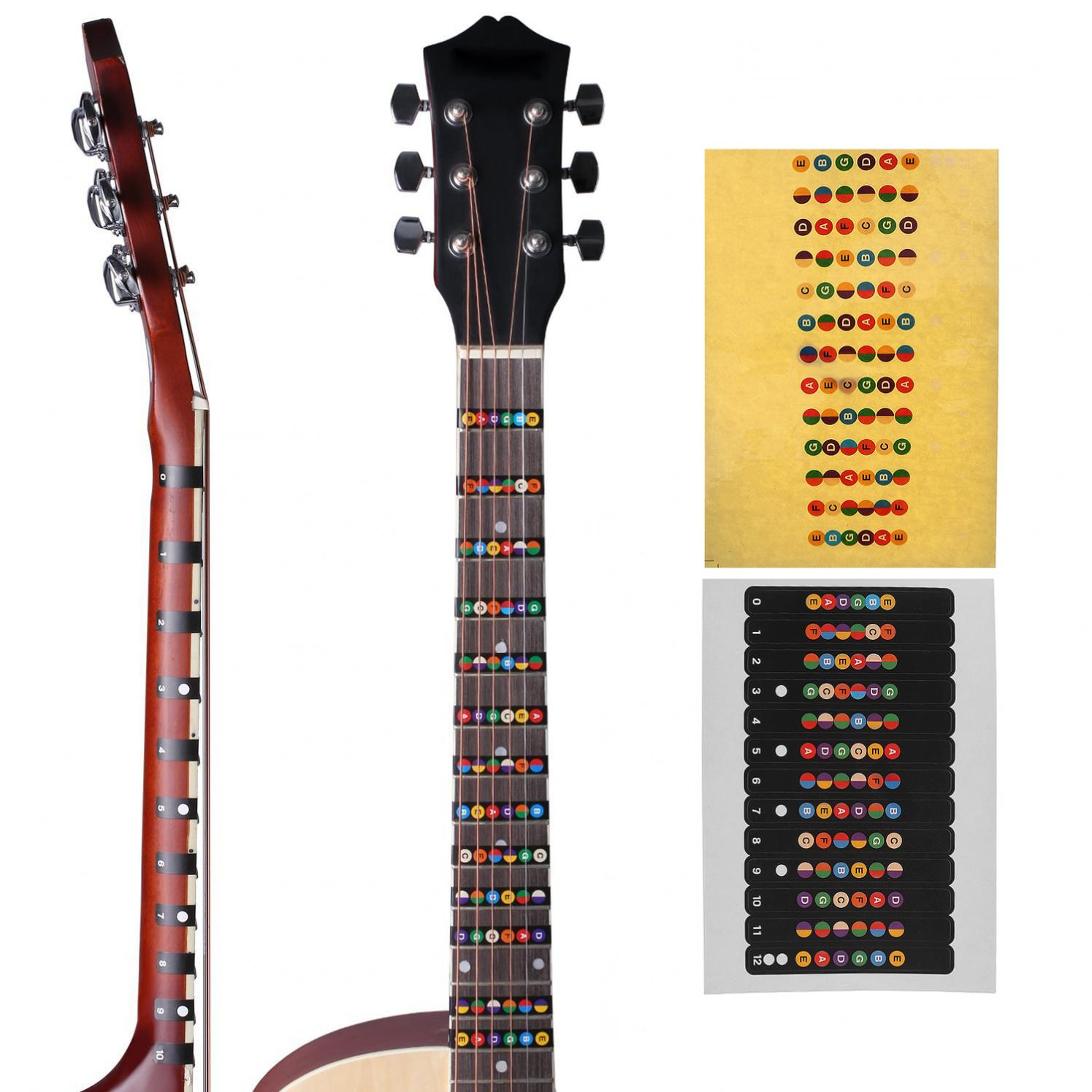 water resistant universal guitar fretboard note labels fingerboard fret stickers 2 colors. Black Bedroom Furniture Sets. Home Design Ideas