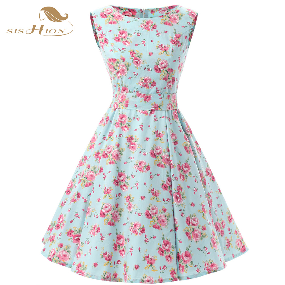 sishion women floral cotton dresses sleeveless retro 50s. Black Bedroom Furniture Sets. Home Design Ideas
