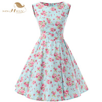 SISHION Women Floral Cotton Dresses Sleeveless Retro 50s Plus Size Vintage Mint Green Casual Rockabilly Dress Tunic Vestidos 110
