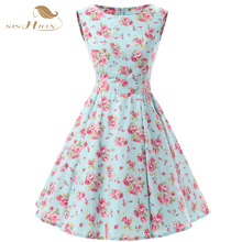 SISHION Women Floral Summer Dresses Sleeveless Retro 50s Plus Size Vintage Mint Green Casual Rockabilly Dress Tunic Vestidos 110