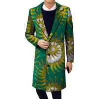 Personal Tailor Handsome Men African Print Stand Collar Popular Dashiki Long Trench Mens Custom Africa Clothes