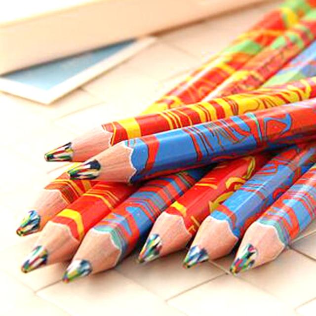 20pcs lot mixed colors rainbow pencil art drawing pencils writing sketches children graffiti pencil drawing