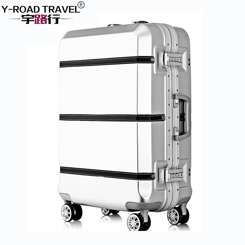Aluminum Frame & Metal Drawbar Travel Suitcase With Wheels TSA Lock Trolley Case Scratch Resistant Rolling Luggage Cheap Koffer 20 26 red vintage suitcase pu leather travel suitcase scratch resistant rolling luggage bags suitcase with tsa lock