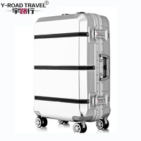 Aluminum Frame & Metal Drawbar Travel Suitcase With Wheels TSA Lock Trolley Case Scratch Resistant Rolling Luggage Cheap Koffer
