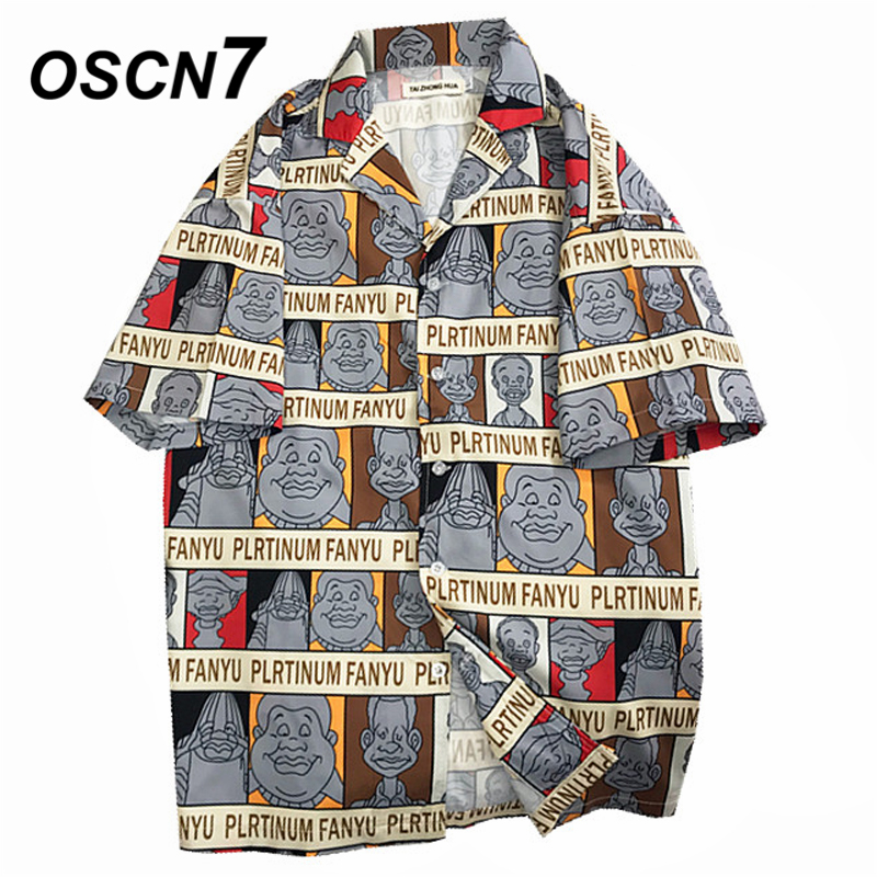 OSCN7 2019 Casual Printed Short Sleeve Shirt Men Street 2019 Hawaii Beach Women Fashion Short Sleeve Shirts Harujuku Mens 3015