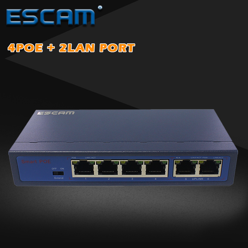 ESCAM 8CH POE Switch 10/100M 150m Distance 120W DC& 2Lan Port IP Camera CCTV System NVR POE Power Supply Adapter 4pcs 12v 1a cctv system power dc switch power supply adapter for cctv system
