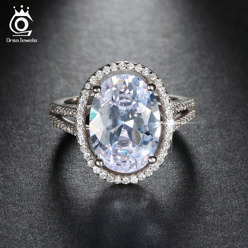 ORSA JEWELS Luxury 6 ct Big Oval Cut Simulated Diamond Zircon Ring with Micro Paved CZ
