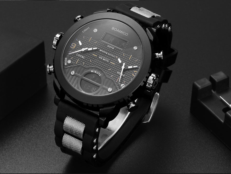 HTB1uiHAa7yWBuNjy0Fpq6yssXXag men watches BOAMIGO brand 3 time zone military sports watches male LED digital quartz wristwatches gift box relogio masculino