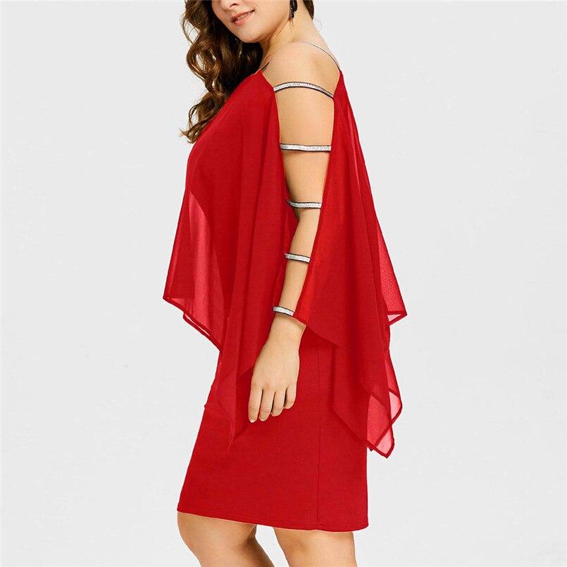 Nuevo estilo caliente venta para mujeres Plus tamaño de escalera corte capa asimétrica Chiffon Mini vestido sin tirantes vestido de verano vestido de #30