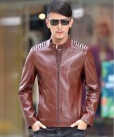 New arrive fasion plus size 5XL Men's leather jacket coat men Korean rivet motorcycle leather jacket coats men leather clothes