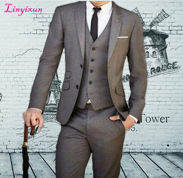 Linyixun Custom Made 3 pieces Men Suit Tailor Made Suit Bespoke Light Grey Wedding Suits For Men Gray Slim Fit Groom Tuxedos