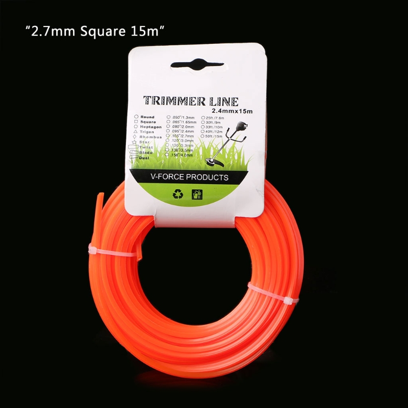 15m Lawn Mower Grass Cutter Trimmer Line Nylon Strimmer Garden Cord Wire String 649E