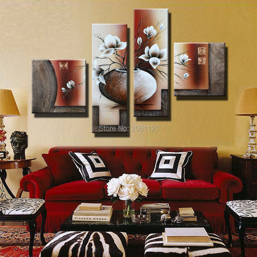 Traditional White And BROWN Wall Oil Painting 4 Piece Sets Modern Abstract Canvas Art Home Decoration FLOWERS PICTURE