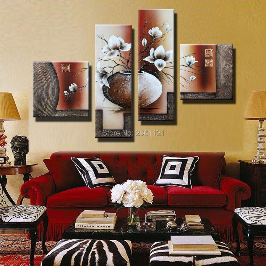 Hagyományos fehér és barna falfestmény, 4 darab készlet, Modern, - Lakberendezés