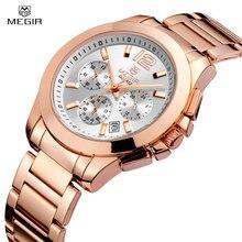 Megir Marca de lujo Hombres Reloj Multifunción de Negocios 3 Diall Conocer Mujeres A Prueba de agua Reloj de Acero Completo Reloj de Cuarzo del Amante de la Moda