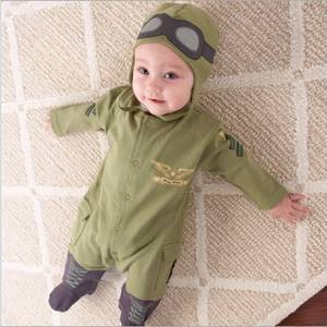 Army Green Baby Rompers Pilot Airman Costumes Baby Boy Clothes Hat Space Jumpsuit + Cap Fly Aviator's Helmet Without Foot Cotton