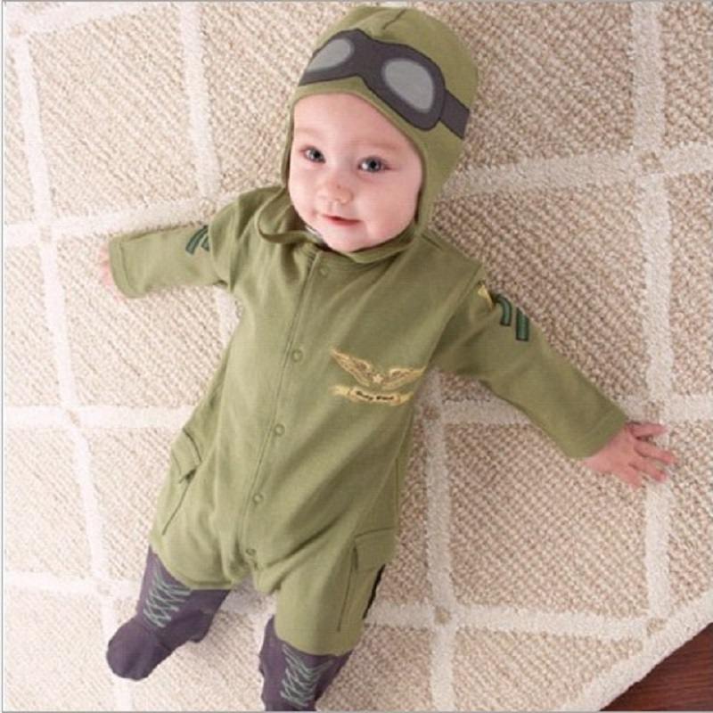 Army Green Baby Rompers Pilot Airman Costumes Baby Boy Clothes Hat Space Jumpsuit + Cap Fly Aviators Helmet Without Foot Cotton