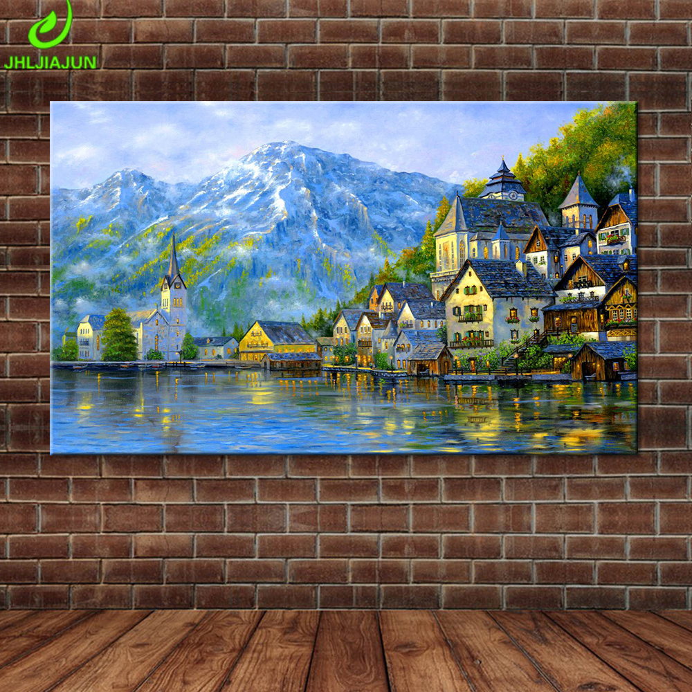 Modern Wall Art Picture Home Decor Printed European Iceberg Lakeside Town Nature Landscape Landscape Poster Living Room Painting
