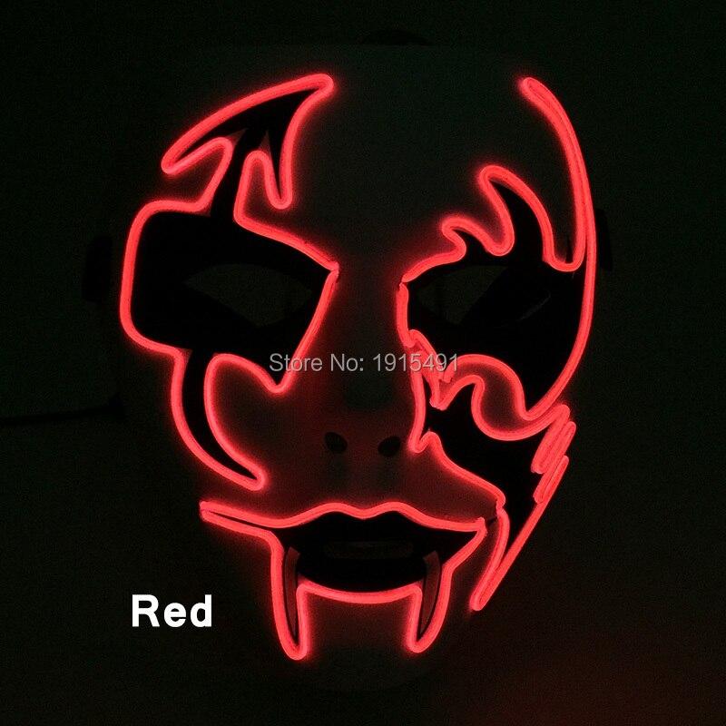Top vente mascarade fête décor néon Led bande élégant masque de mariage EL câble Tube Camouflage film thème masque pour la célébration