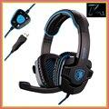 Marca sades sa-901 gaming headset 7.1 surround sound stereo baixo fone de ouvido fones de ouvido com microfone usb controle remoto para pc gamer