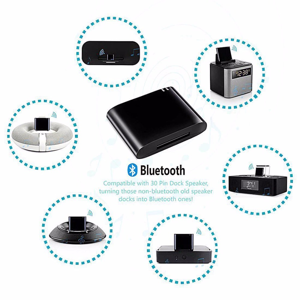 30pin <font><b>Bluetooth</b></font> <font><b>Adapter</b></font> <font><b>4.1</b></font> <font><b>A2DP</b></font> Audio Music Receiver for Bose Sounddock and 30Pin iPhone iPod Dock interface JBL Speaker Bose image