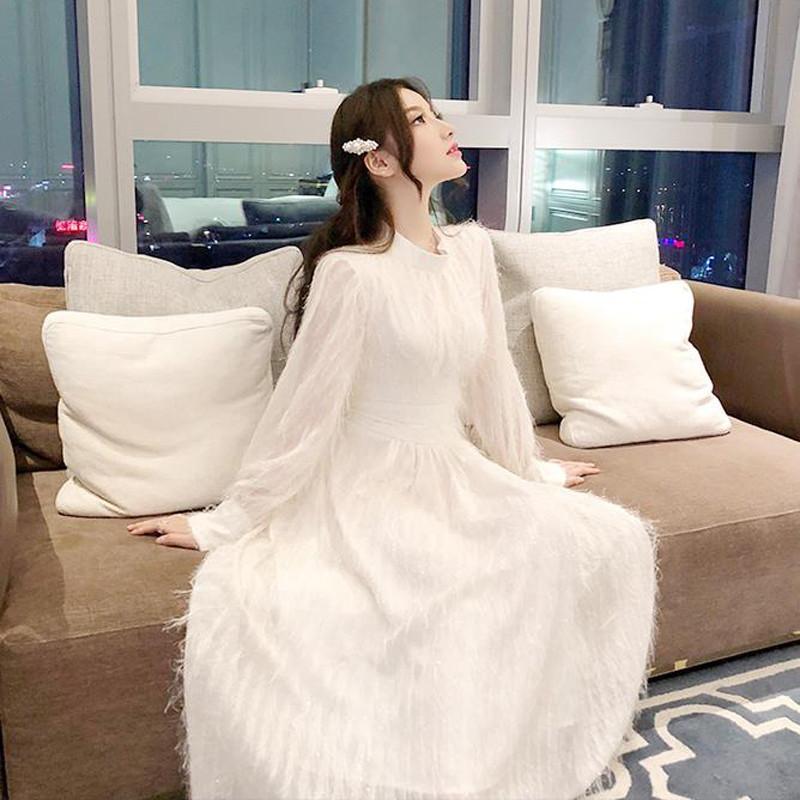 Longue Manches Taille Mince Gland Automne Robes Haute Robe Élégant V524 ligne Femmes Lady Féminine Hiver A Lanterne Solide w0ISqnxv
