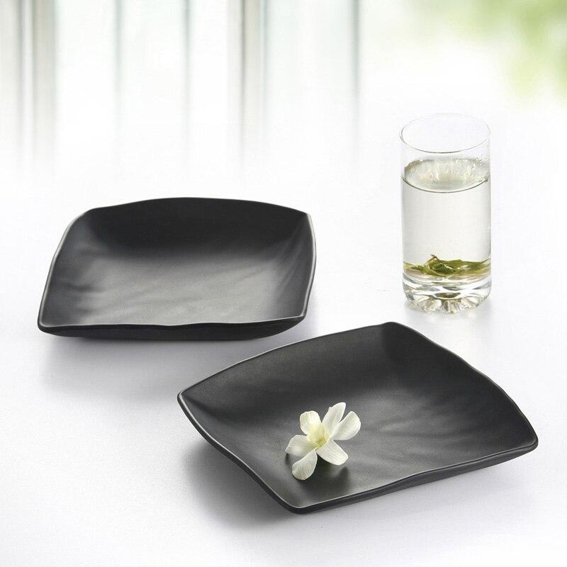 Imitation Porcelain Melamine Dinnerware Dinner Plates Square Plate With Hot Pot Restaurant A5 Melamine Dish Melamine Tableware in Dishes Plates from Home Garden