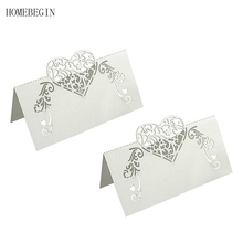 HOMEBEGIN 50pcs White Laser Cut Place Cards Wedding Name Cards Guest Name Table Cards Wedding Decoration