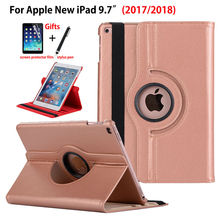 360 Degree Rotating Case For Apple New iPad 9.7 2017 Case Cover Funda Tablet Model A1822 PU Leather Stand Shell+Stylus+film 2in1 360 degree rotating case for alcatel onetouch a3 10 4g 10 1 inch tablet universal cover case no camera hole stylus