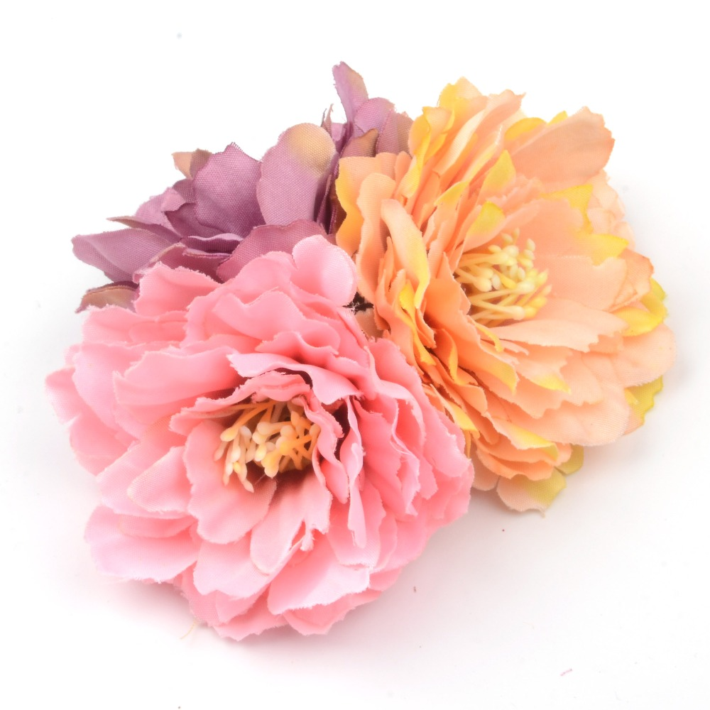 10pcs/lot 6cm Artificial Silk Carnation Flower Heads Wedding Home Decoration DIY Bride Holding flowers Accessories Fake Flowers