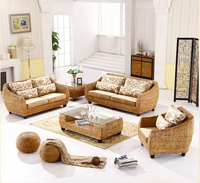 2018 new design fashion leisure handmade rattan sofa living room furniture with 2pcs free round stool