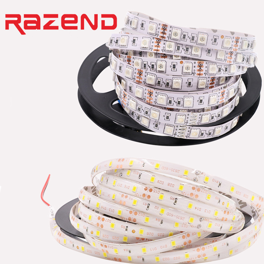 brand new ac9d6 f654b US $2.53 25% OFF|5M SMD 2835 5050 5630 RGB LED Strip Light Flexible ribbon  tape bar light warm white blue yellow red Waterproof waterproof 12v-in LED  ...