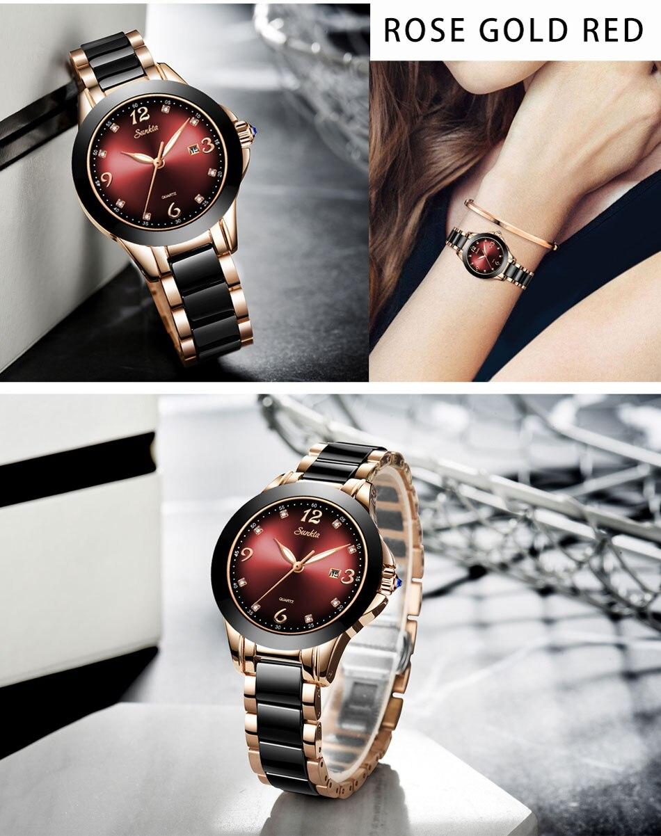 SUNKTA Mulheres Relógios Pulseira de Relógio de