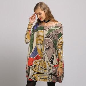 Image 5 - XIKOI, nuevo suéter para mujer, suéteres de manga larga de murciélago con estampado abstracto de gran tamaño, suéteres casuales de moda de punto con cuello redondo, ropa, suéter