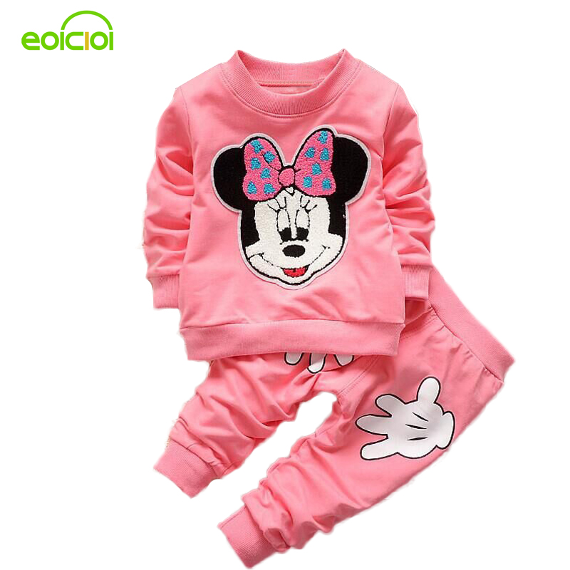 EOICIOI Autumn Minnie Baby girls clothing sets kids clothes bebe girl long sleeve cotton set T-Shirt+Pant Girl Set 2pcs children outfit clothes kids baby girl off shoulder cotton ruffled sleeve tops striped t shirt blue denim jeans sunsuit set